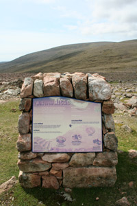 The interpretative board at the top of Collafirth Hill, on the way to Ronas Hill.